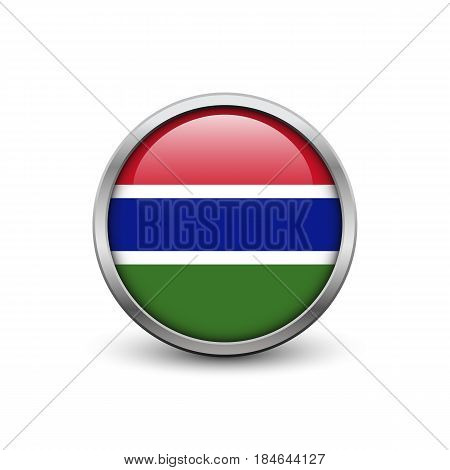 Flag of Gambia button with metal frame and shadow