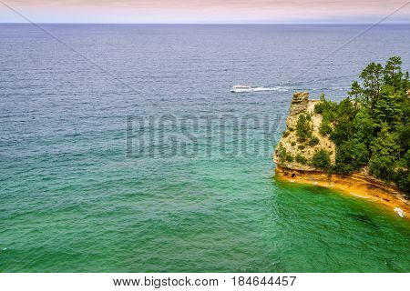 Miners Castle rock formation in Pictured Rocks National Lakeshore on Upper Peninsula, Michigan