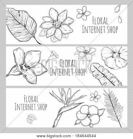 Sketch floral internet shop horizontal banners with exotic beautiful flowers and leaves vector illustration
