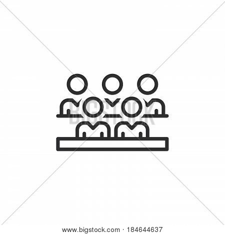 Group of people line icon outline vector sign linear pictogram isolated on white. Audience symbol logo illustration