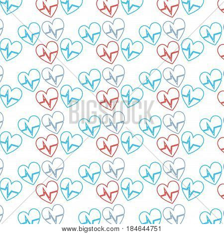 nice heartbeat to cardiac rhythm background, vector illustration design