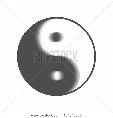 Ying yang symbol of harmony and balance. Vector. Gray icon shaked at white background.