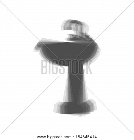 Bathroom sink sign. Vector. Gray icon shaked at white background.