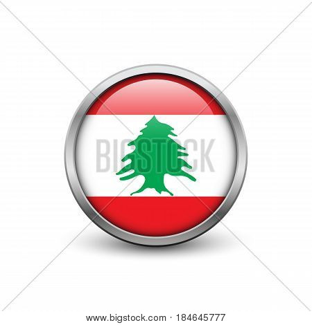 Flag of Lebanon button with metal frame and shadow