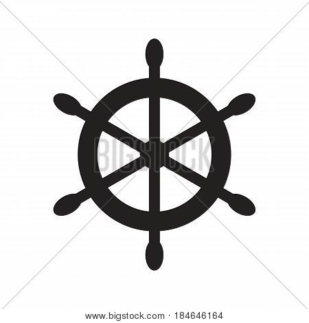 Ship's wheel symbol. Vector illustration in flat style