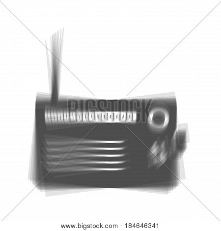 Radio sign illustration. Vector. Gray icon shaked at white background.