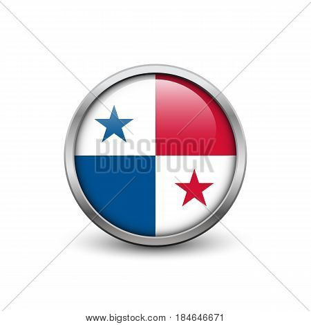 Flag of Panama button with metal frame and shadow