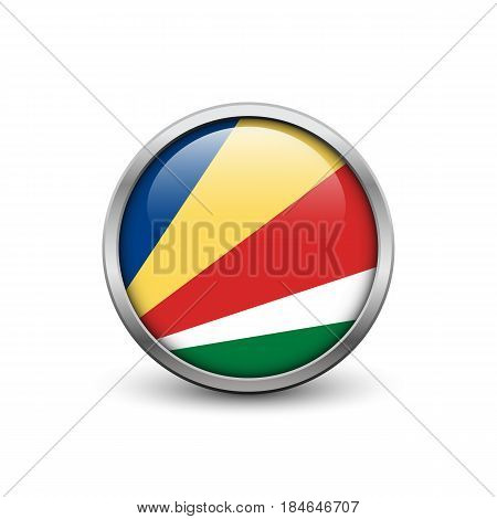 Flag of Barbados button with metal frame and shadow