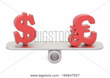 Dollar or Pound Sterling balance concept. 3D rendering isolated on white background