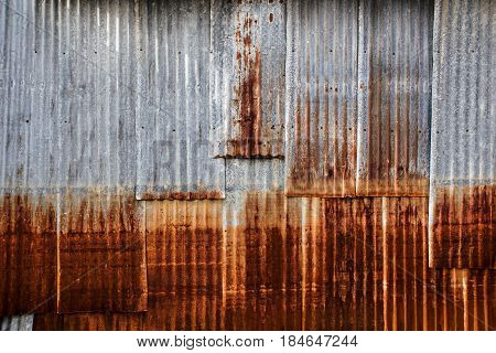Old and Rusted decay metal sheet wall