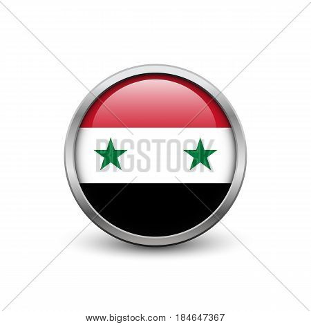 Flag of Syria button with metal frame and shadow
