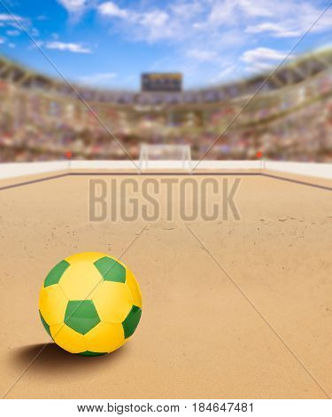 Outdoor beach soccer arena full of fans in the stands with ball on sand. The game is also known as beach football or beasal. Deliberate focus on ball and shallow depth of field on background and copy space. 3D rendering