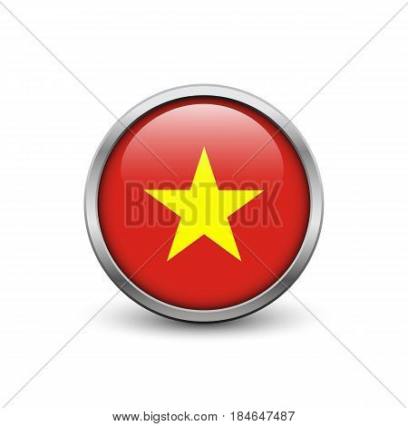 Flag of Vietnam button with metal frame and shadow