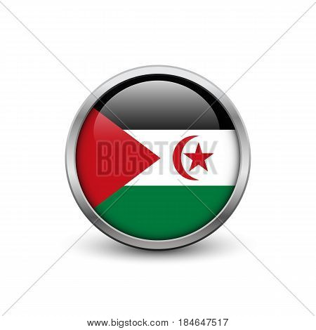 Flag of Western Sahara button with metal frame and shadow