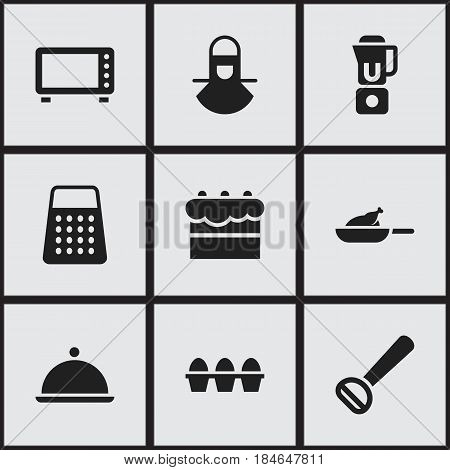 Set Of 9 Editable Meal Icons. Includes Symbols Such As Egg Carton, Salver, Husker And More. Can Be Used For Web, Mobile, UI And Infographic Design.