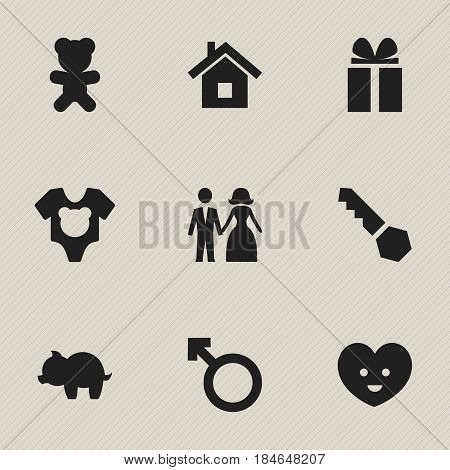 Set Of 9 Editable Kin Icons. Includes Symbols Such As Man Emblem, Moneybox, Soul And More. Can Be Used For Web, Mobile, UI And Infographic Design.