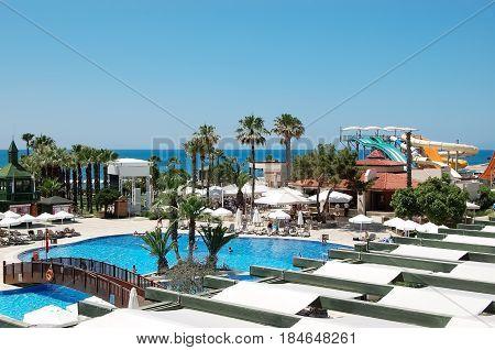 Belek Turkey - June 01 2015: Panoramic view of the pool and waterslides in Bellis Deluxe hotel in Turkey.