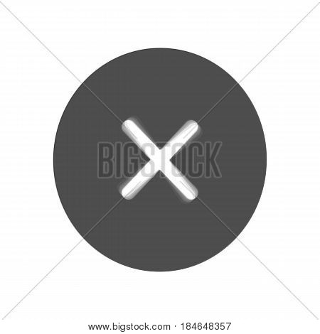 Cross sign illustration. Vector. Gray icon shaked at white background.
