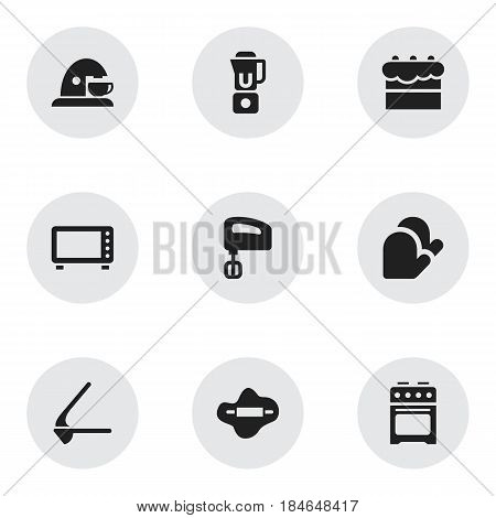Set Of 9 Editable Meal Icons. Includes Symbols Such As Oven, Agitator, Pastry And More. Can Be Used For Web, Mobile, UI And Infographic Design.