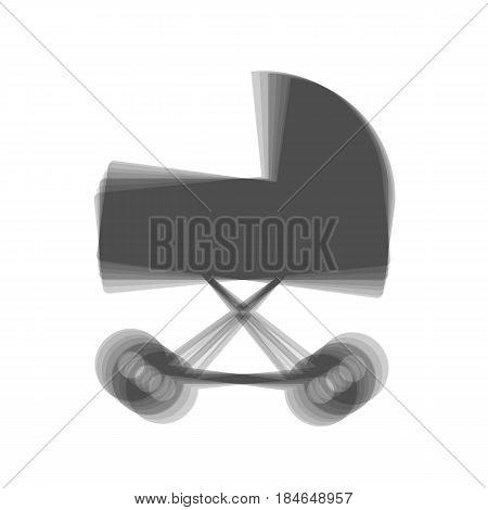 Pram sign illustration. Vector. Gray icon shaked at white background.