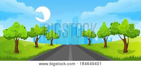 Cartoon illustration of the rural summer landscape with road and city
