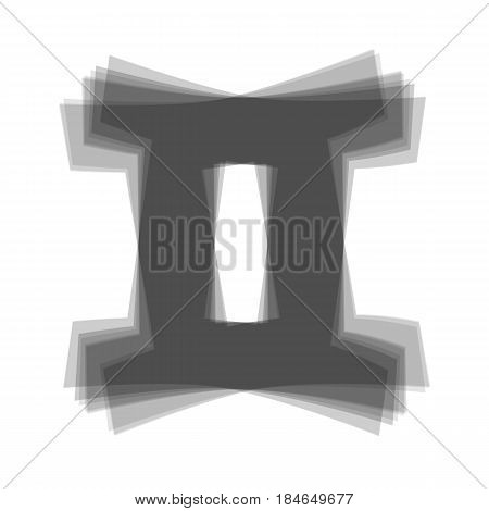 Gemini sign. Vector. Gray icon shaked at white background.