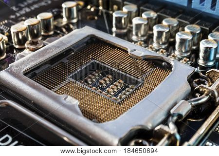 Technology background with place for computer processors CPU or socket, modern circuit board, electronic computer hardware technology concept