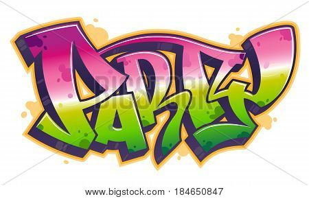 Party word in readable graffiti style in vibrant customizable colors.