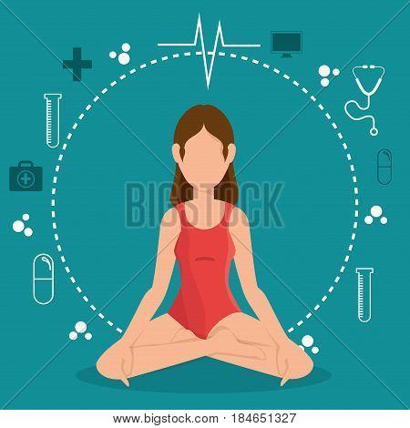woman practicing yoga healthy lifestyle vector illustration design