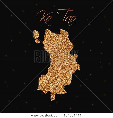 Ko Tao Map Filled With Golden Glitter. Luxurious Design Element, Vector Illustration.