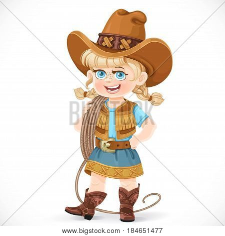 Cute Girl In A Cowboy Suit Is Holding A Lasso On Her Shoulder Isolated On A White Background