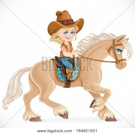 Cute Little Girl In A Cowboy Suit Riding A Horse Isolated On A White Background