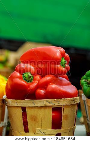Boxes With Colorful Peppers On The Market.