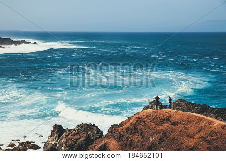 Lanzarote, Spain - March 30, 2017: Unidentified People Walking  In El Golfo And Green Lagoon. The Gu