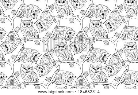 Big-eared owl. A seamless pattern in the handdrawn style. Black and white graphics Texture for scrapbooking, wrapping paper, textiles, web page, wallpapers, surface design, fashion