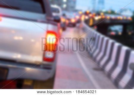 Blurred back of pick up car in traffic jam