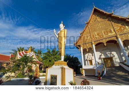 Vientiane, Laos - January 18, 2017: Famous Wat Pha That Luang temple in Vientiane, Laos.