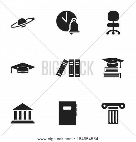 Set Of 9 Editable School Icons. Includes Symbols Such As Pillar, School Bell, Astrology And More. Can Be Used For Web, Mobile, UI And Infographic Design.