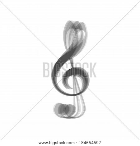 Music violin clef sign. G-clef. Treble clef. Vector. Gray icon shaked at white background.