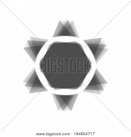Shield Magen David Star Inverse. Symbol of Israel inverted. Vector. Gray icon shaked at white background.