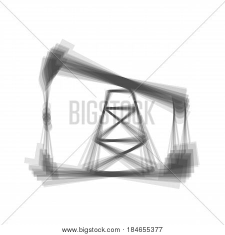 Oil drilling rig sign. Vector. Gray icon shaked at white background.