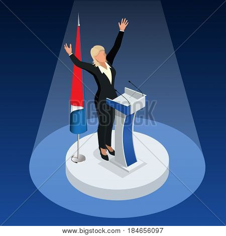 The woman is the winner in the elections. Presidential Elections in France 2017.