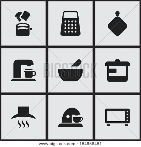 Set Of 9 Editable Cooking Icons. Includes Symbols Such As Cup, Utensil, Kitchen Hood And More. Can Be Used For Web, Mobile, UI And Infographic Design.