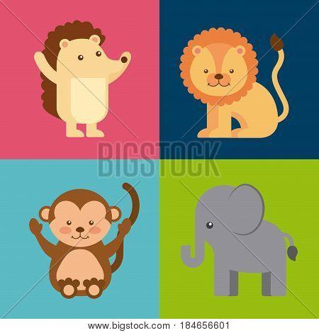 group animal cute icon vector illustration design