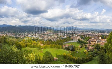 Panorama of Bergamo city Lombardy Italy. View from La Rocca Hill