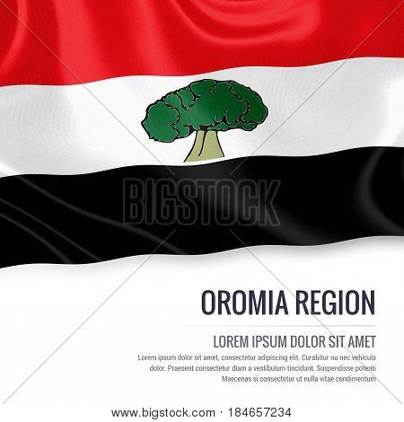 Oromia Region flag. Flag of Ethiopian state Oromia Region waving on an isolated white background. State name and the text area for your message. 3D illustration.