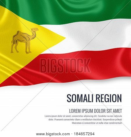 Somali Region flag. Flag of Ethiopian state Somali Region waving on an isolated white background. State name and the text area for your message. 3D illustration.