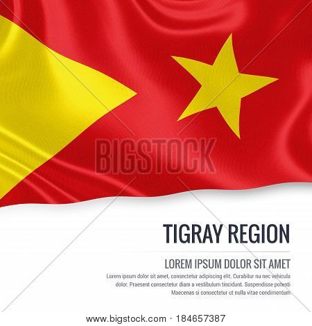 Tigray Region flag. Flag of Ethiopian state Tigray Region waving on an isolated white background. State name and the text area for your message. 3D illustration.