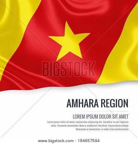 Amhara Region flag. Flag of Ethiopian state Amhara Region waving on an isolated white background. State name and the text area for your message. 3D illustration.