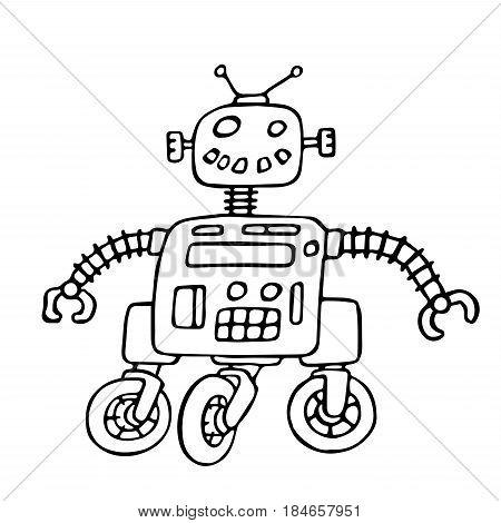 Cute robot on wheels vector illustration. Science fiction. Original cartoon retro character.